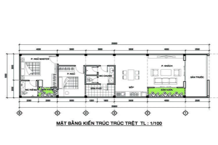 thiết kế nhà ống 1 tầng 6
