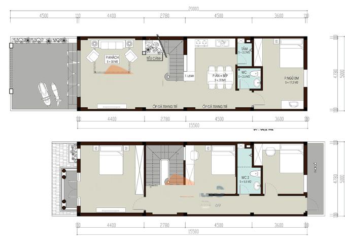 thiết kế nhà ống 2 tầng 4 phòng ngủ 10