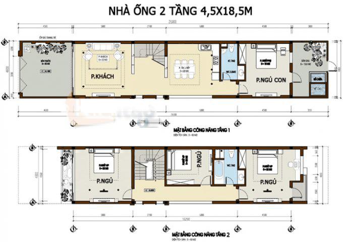 thiết kế nhà ống 2 tầng 4 phòng ngủ 11