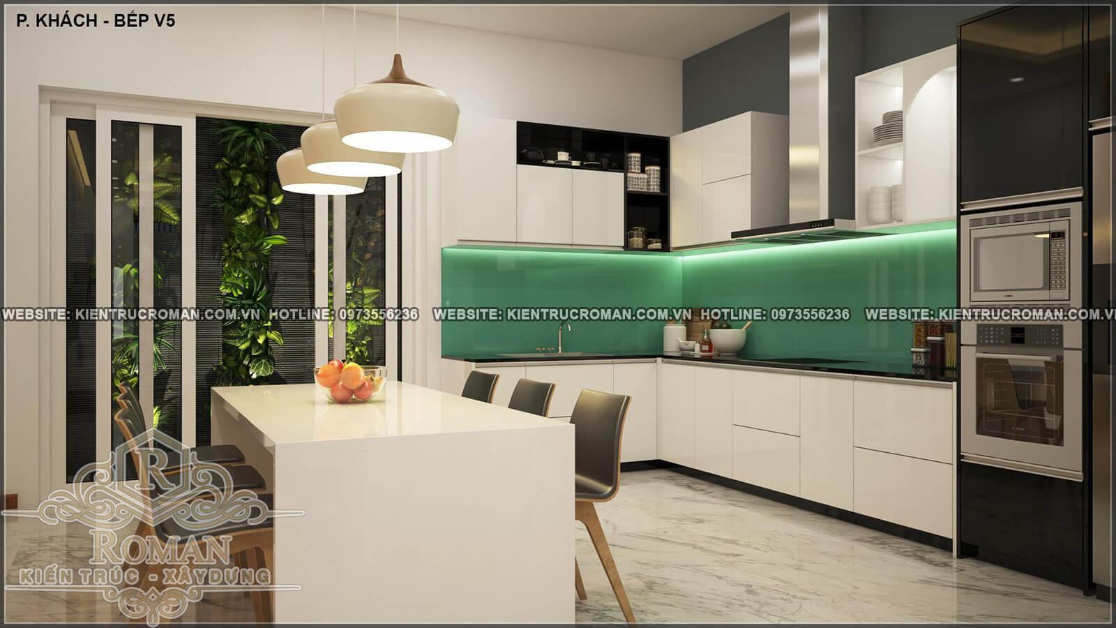 nhà bếp thiết kế nhà ống 4 tầng