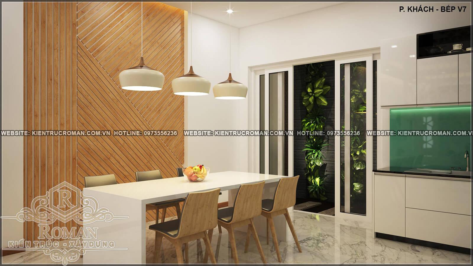 nhà bếp phòng ăn thiết kế nhà ống 4 tầng