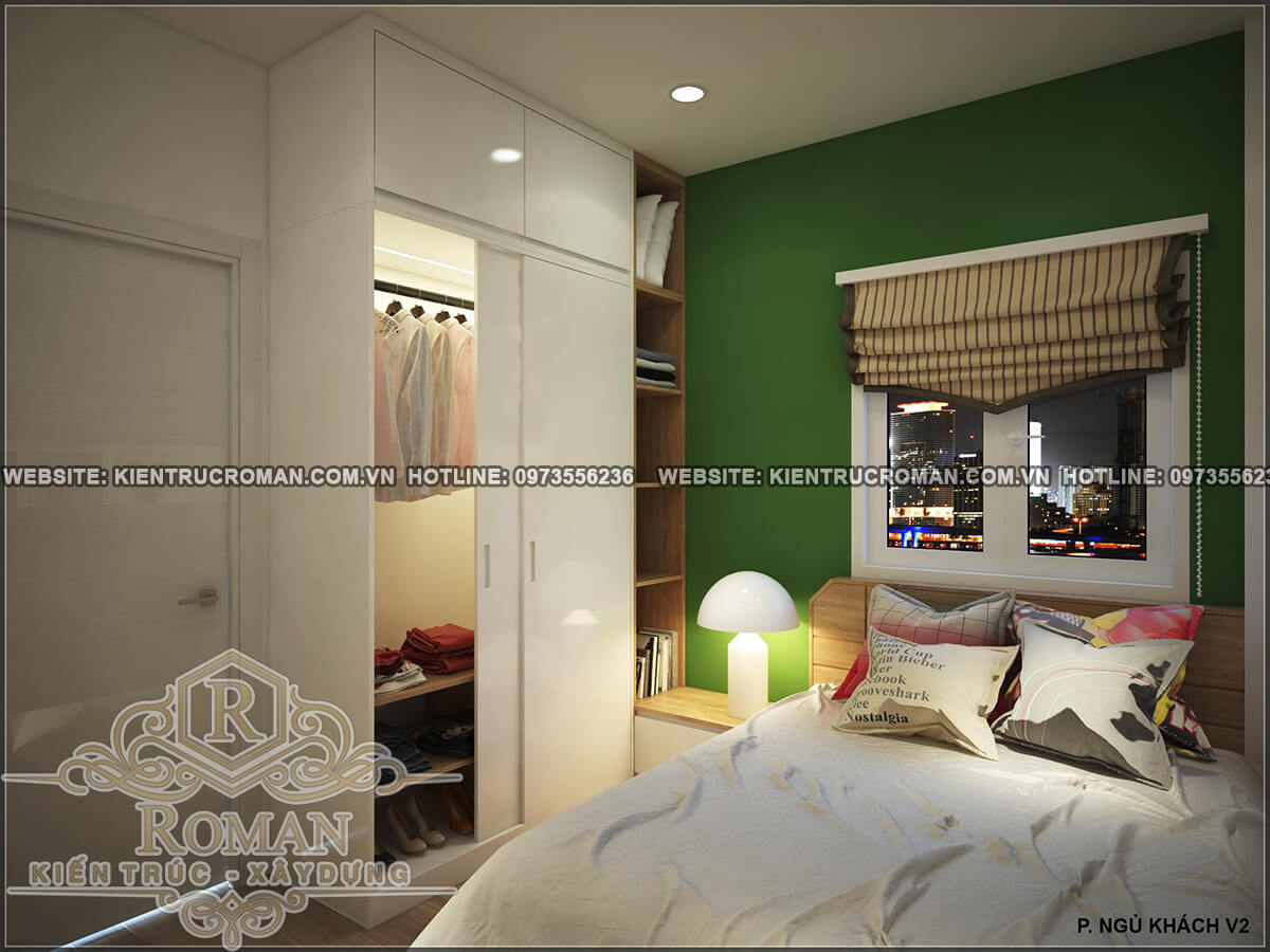 phòng ngủ khách thiết kế nhà ống 4 tầng