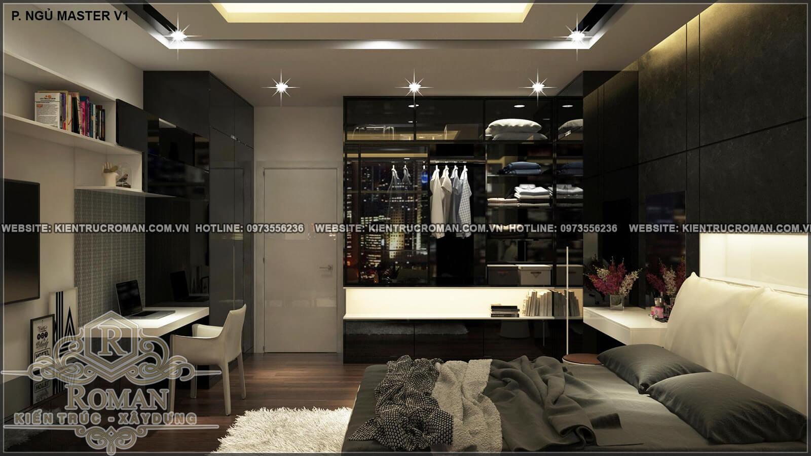 phòng ngủ master thiết kế nhà ống 4 tầng