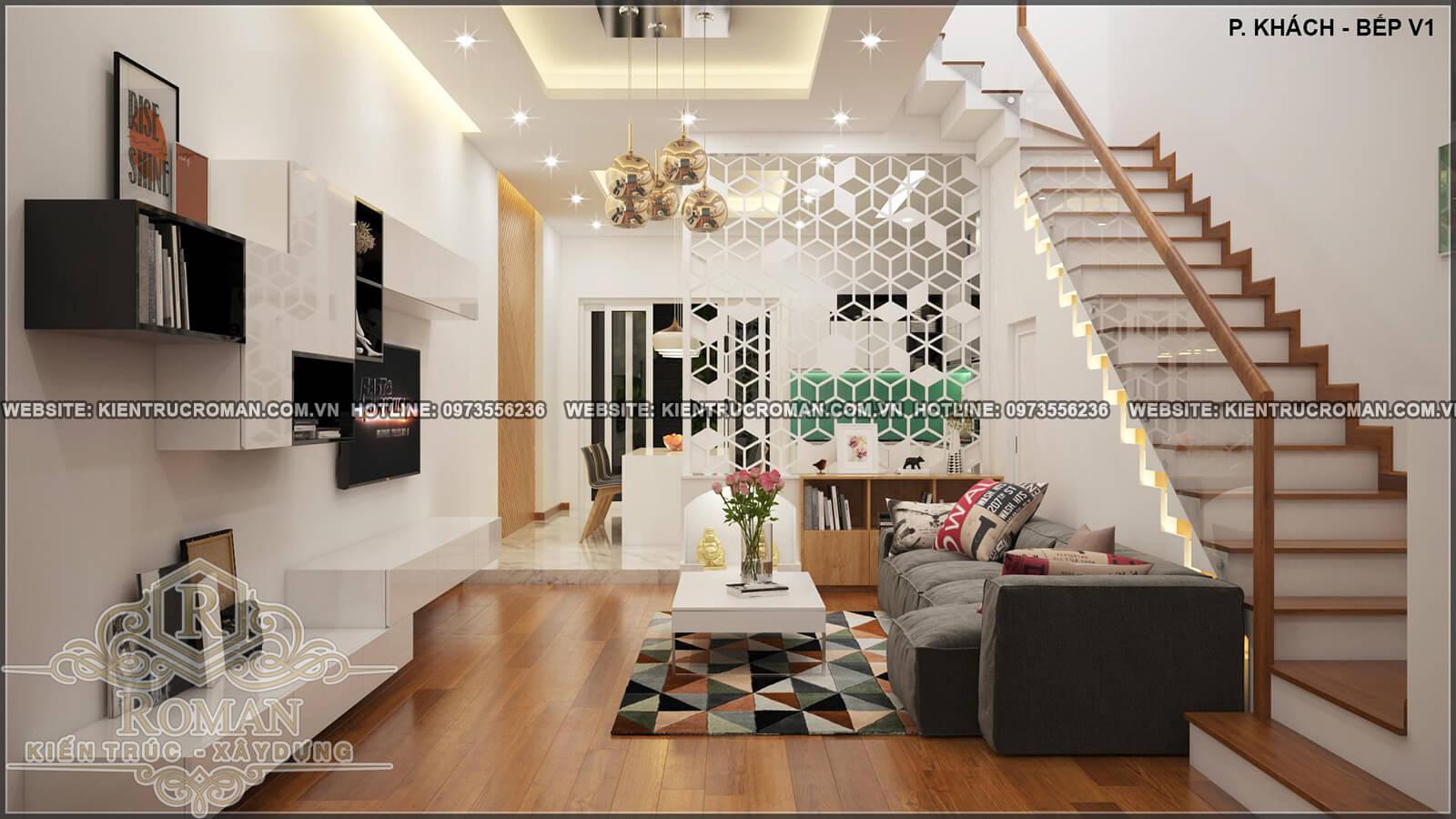 phòng khách thiết kế nhà ống 4 tầng