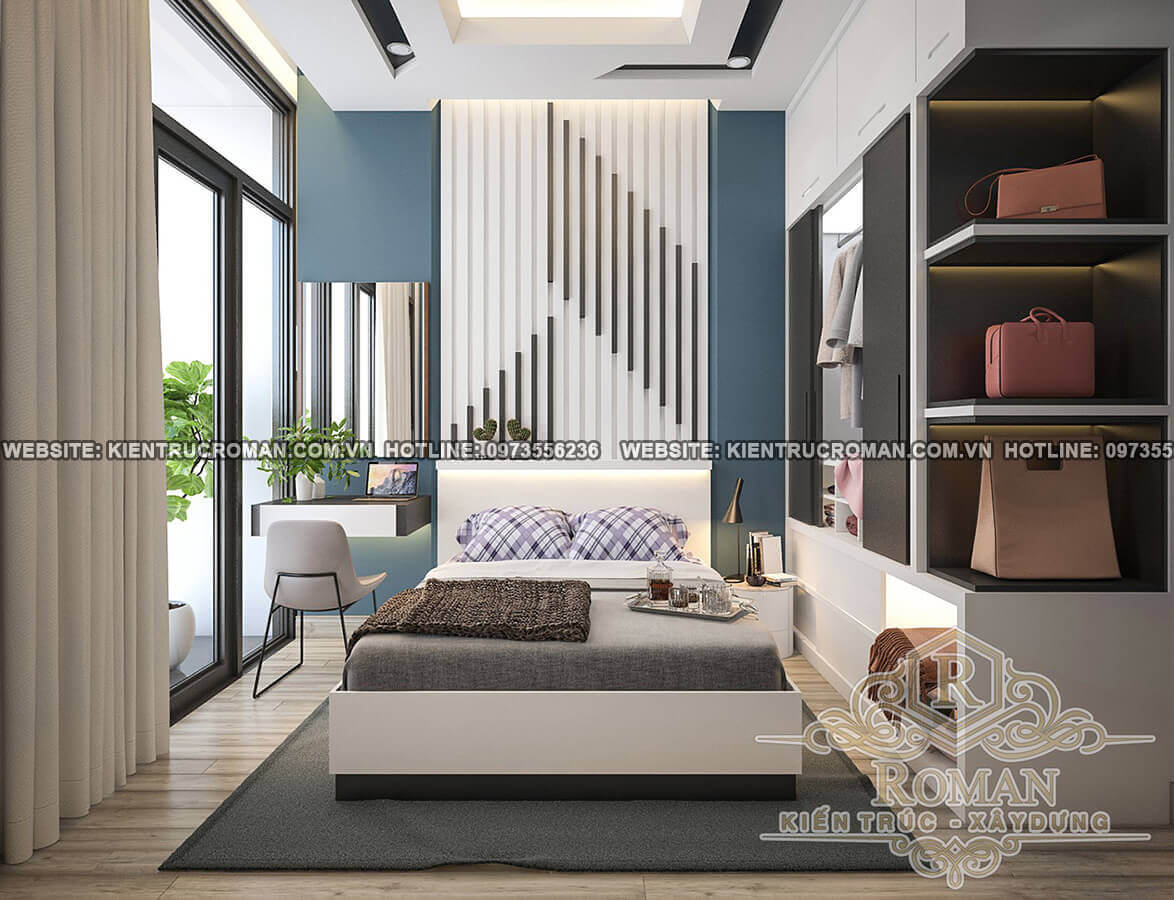phòng ngủ vợ chồng thiết kế nhà ống 5 tầng