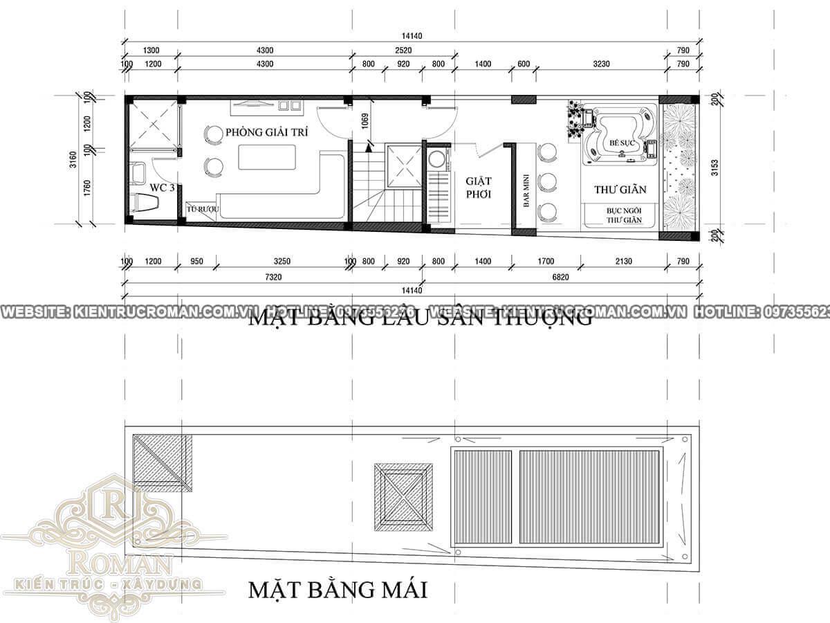 mặt bằng áp mái thiết kế nhà ống 5 tầng