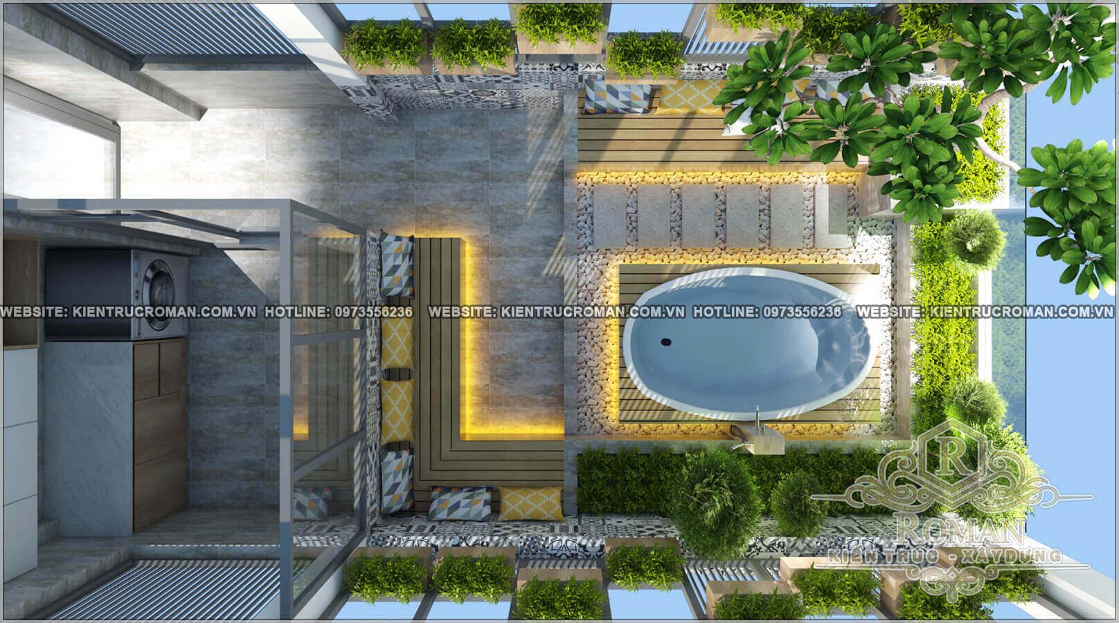 sân thượng thiết kế nhà ống 5 tầng