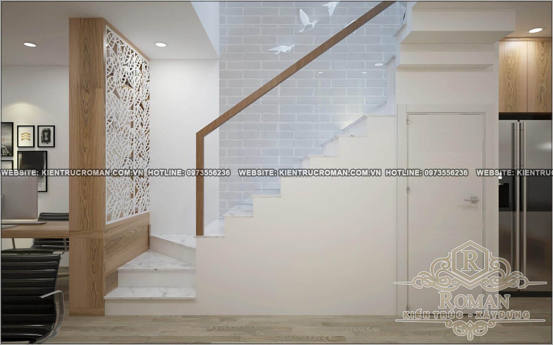 cầu thang thiết kế nhà ống 5 tầng