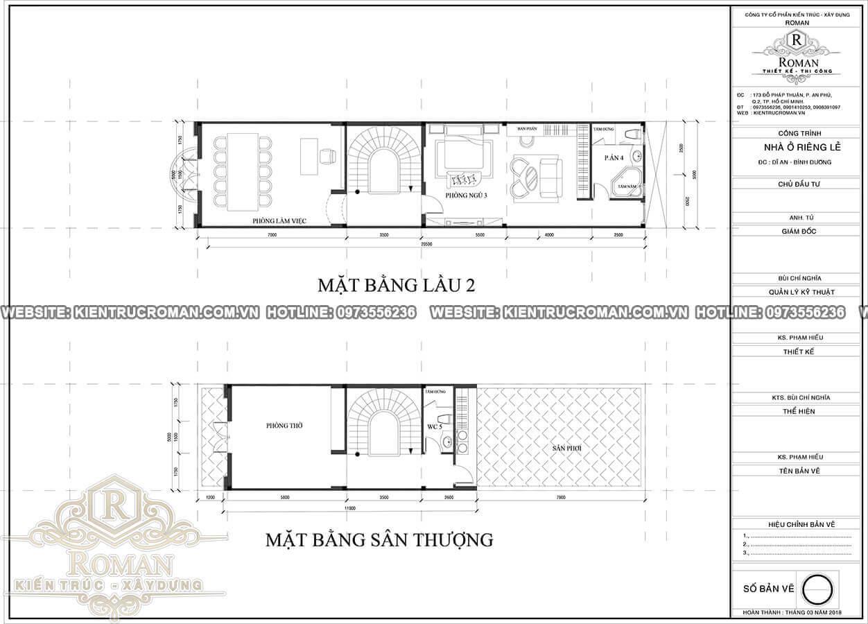 lầu 2, sân thượng thiết kế nhà phố cổ điển