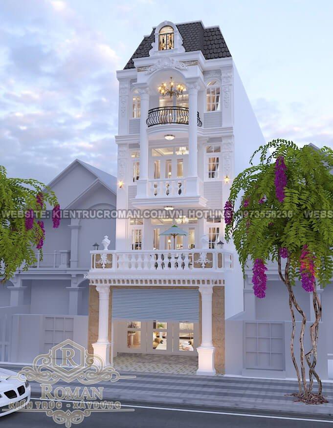 mặt tiền thiết kế nhà phố kiểu pháp