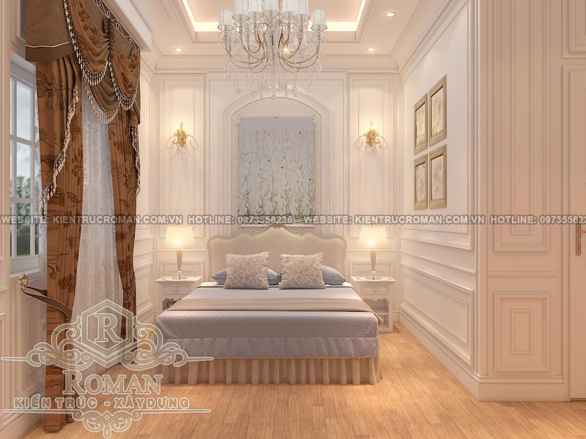 phòng ngủ lầu 2 thiết kế nhà phố kiểu pháp