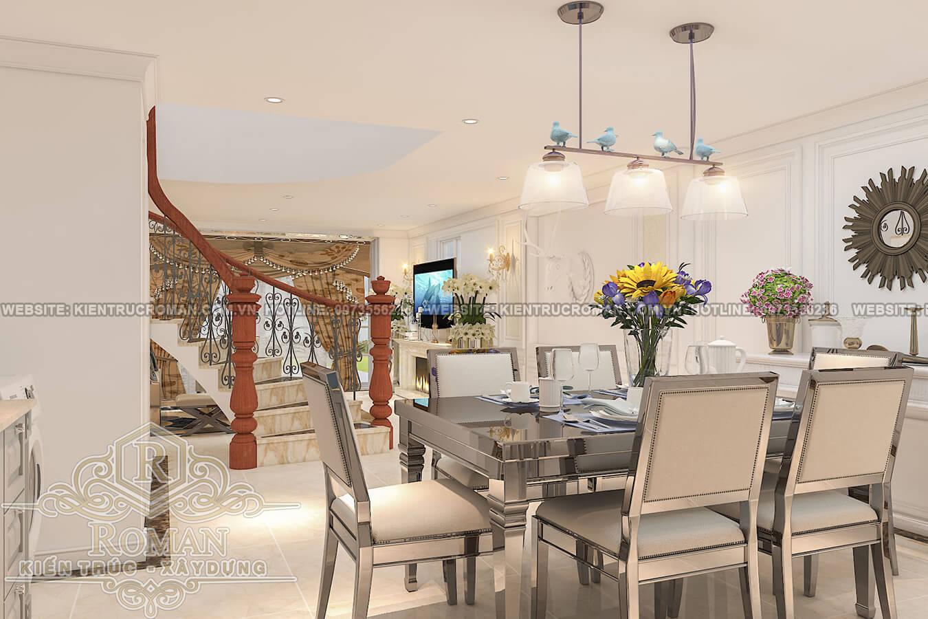 phòng ăn và bếp thiết kế nhà phố kiểu pháp