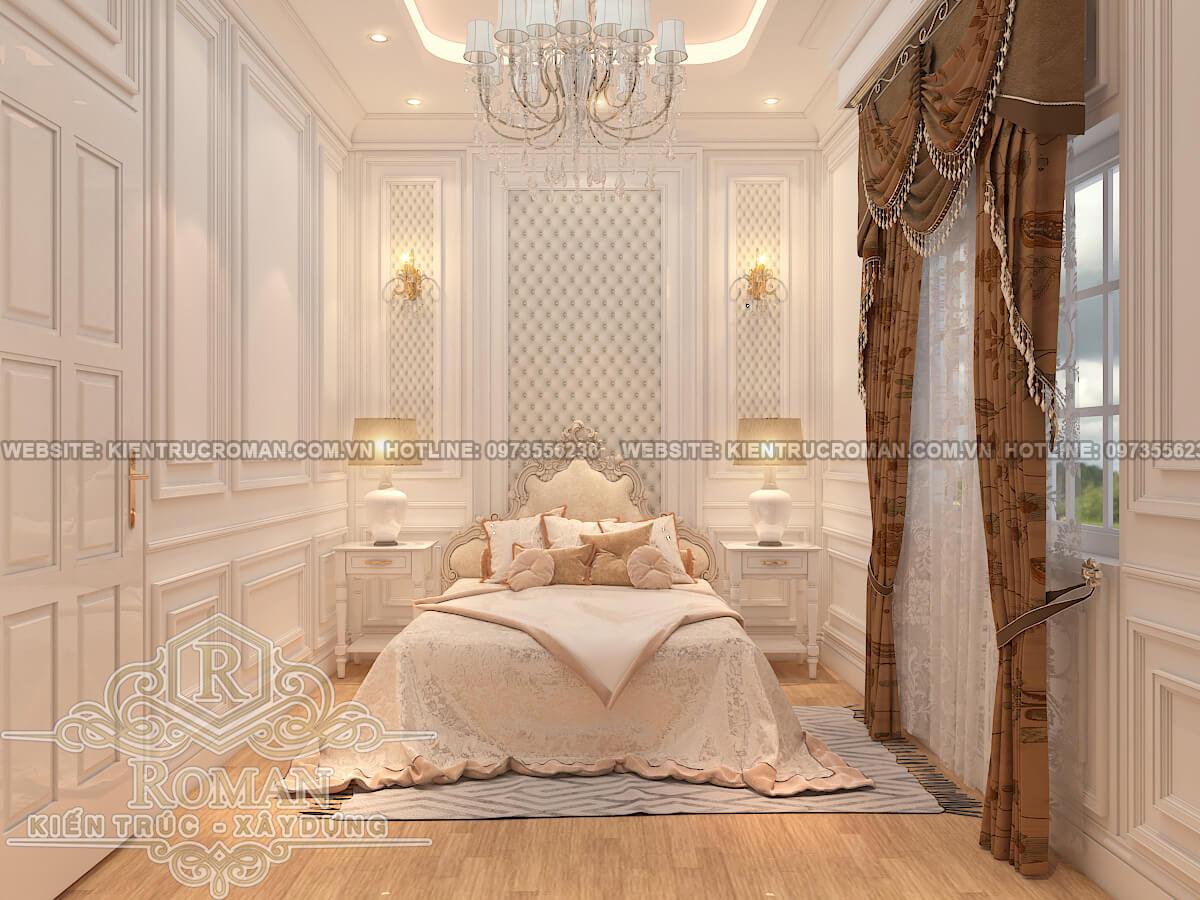 phòng ngủ lầu 1 thiết kế nhà phố kiểu pháp