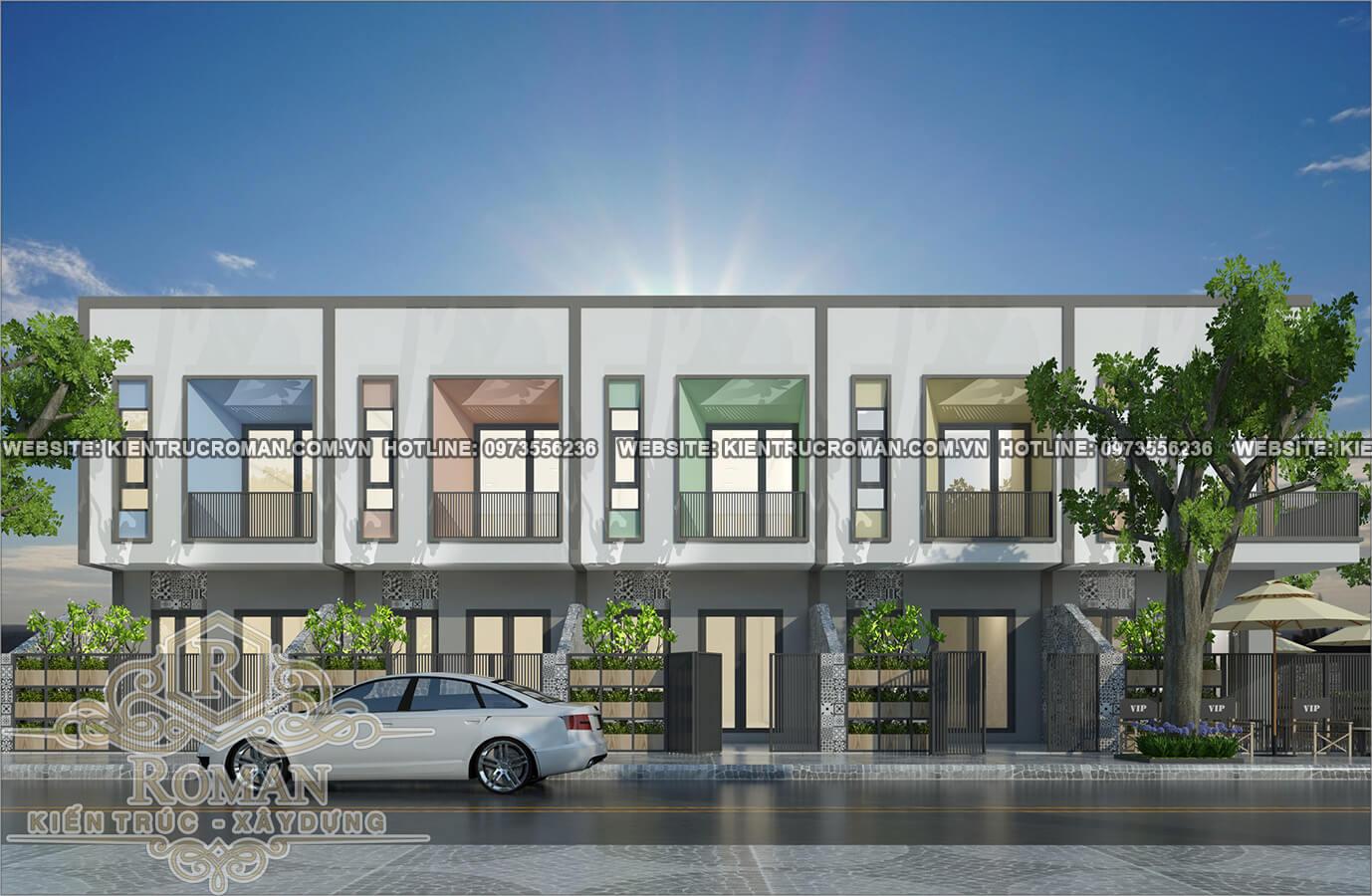 mặt tiền thiết kế nhà phố liền kề