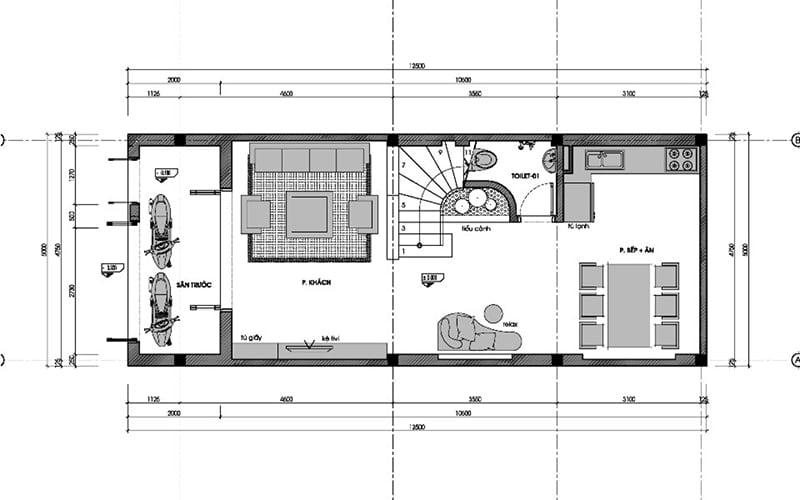 thiết kế nhà phố rộng 6m 3