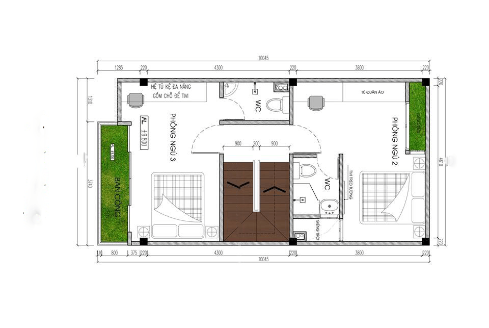 thiết kế nhà phố rộng 6m 5