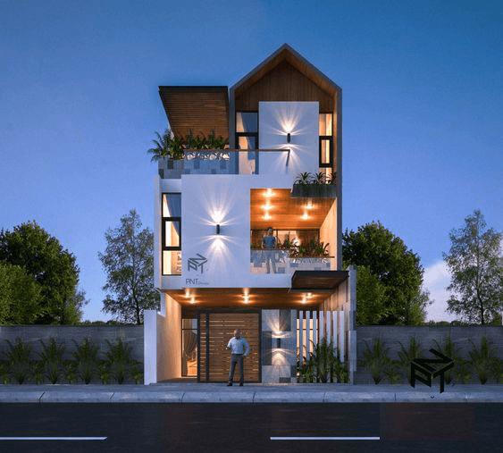 thiết kế nhà phố rộng 7m 14