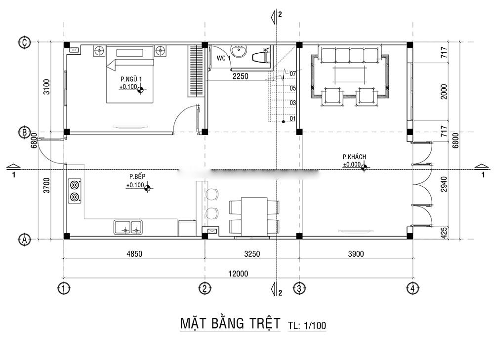 thiết kế nhà phố rộng 7m 15