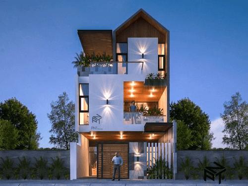 thiết kế nhà phố rộng 7m