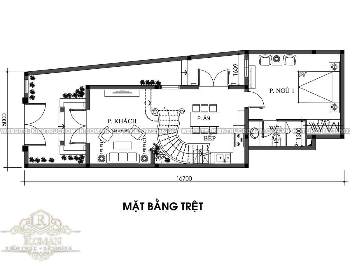 mặt bằng tầng trệt thiết kế nhà tân cổ điển 2 tầng