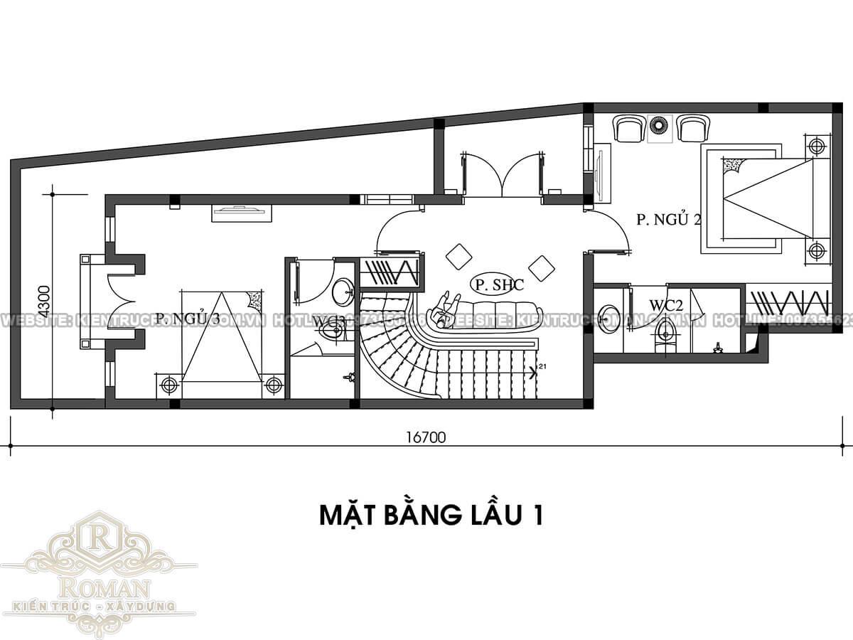 mặt bằng lầu 1 thiết kế nhà tân cổ điển 2 tầng