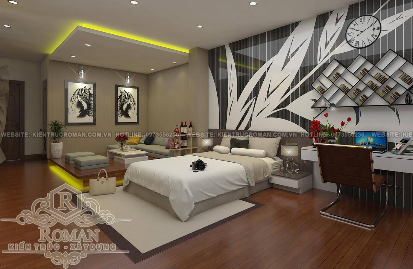 phòng ngủ thiết kế nhà tân cổ điển 2 tầng