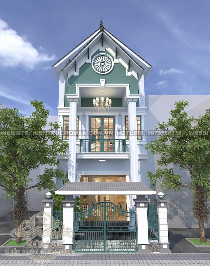 mặt tiền thiết kế nhà tân cổ điển 3 tầng