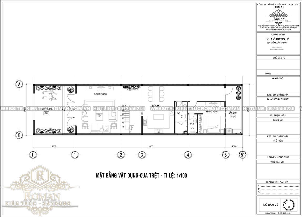 mặt bằng tầng trệt thiết kế nhà tân cổ điển 3 tầng