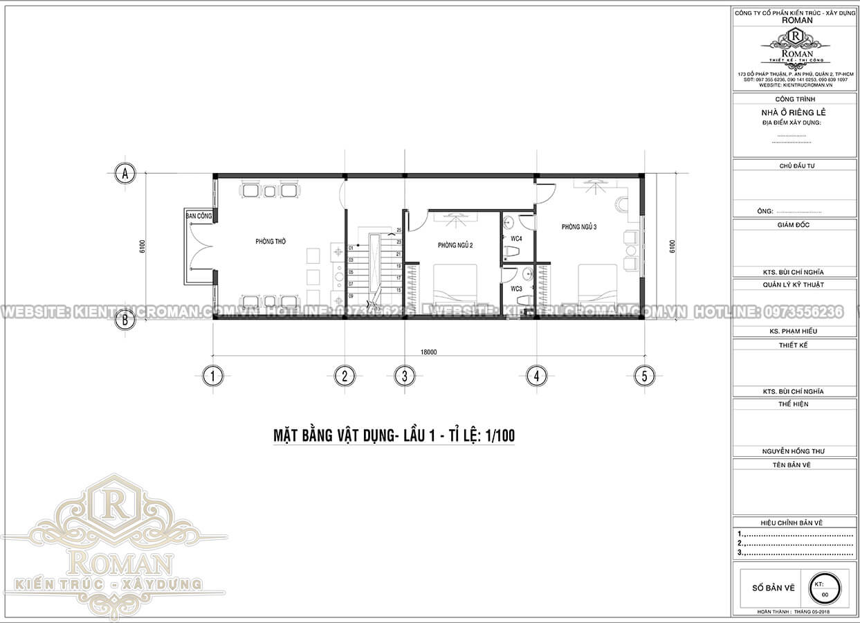 mặt bằng lầu 1 thiết kế nhà tân cổ điển 3 tầng