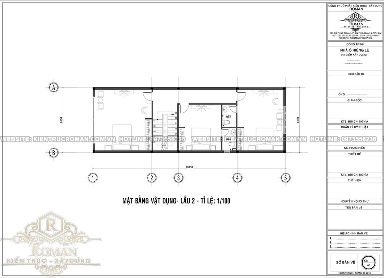 mặt bằng lầu 2 thiết kế nhà tân cổ điển 3 tầng