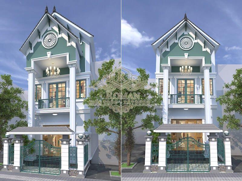 thiết kế nhà tân cổ điển 3 tầng đẹp