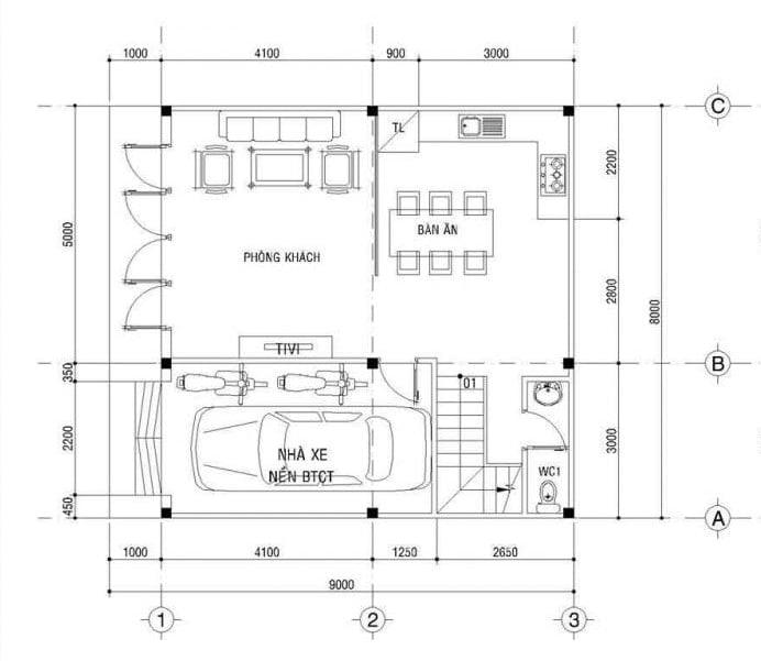 thiết kế nhà vuông 8x9m 6