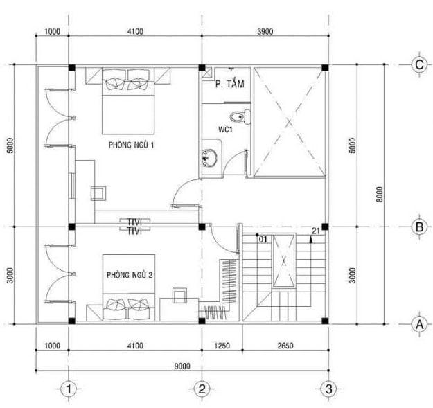 thiết kế nhà vuông 8x9m 7