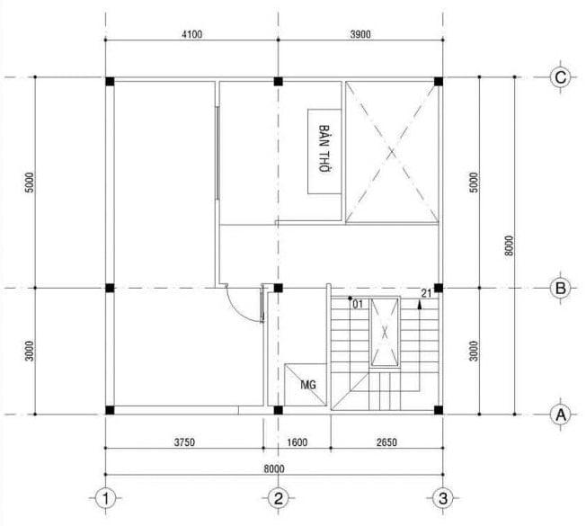 thiết kế nhà vuông 8x9m 8