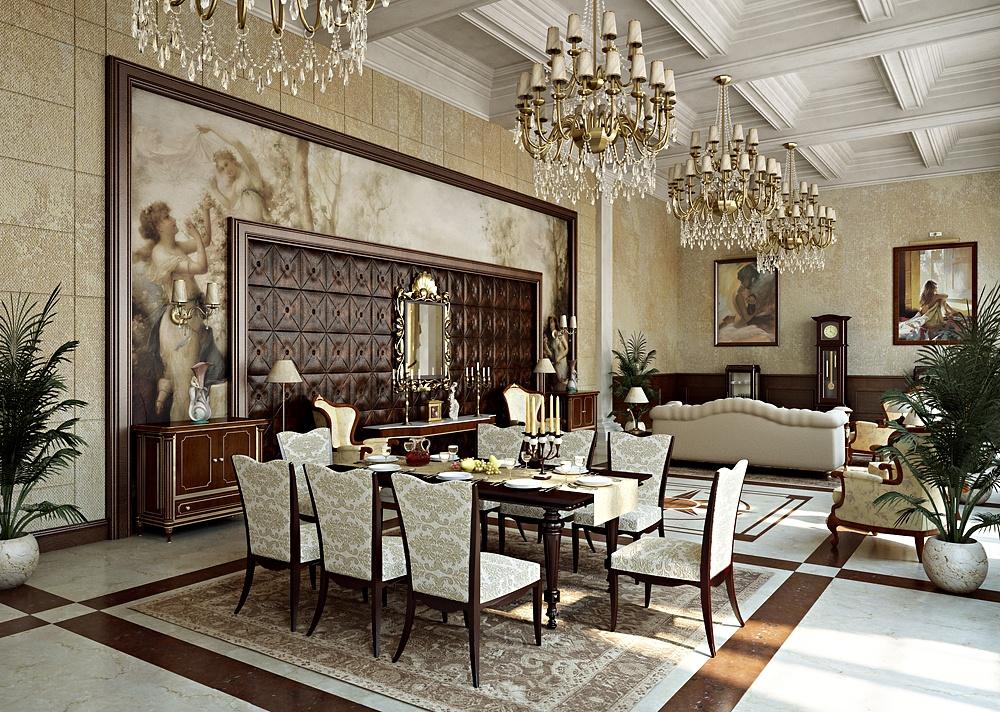 phòng ăn thiết kế nội thất biệt thự cổ điển 3 tầng
