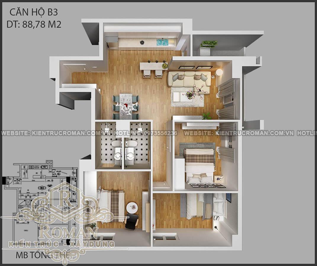 mặt bằng tổng thể thiết kế nội thất căn hộ chung cư 80m2