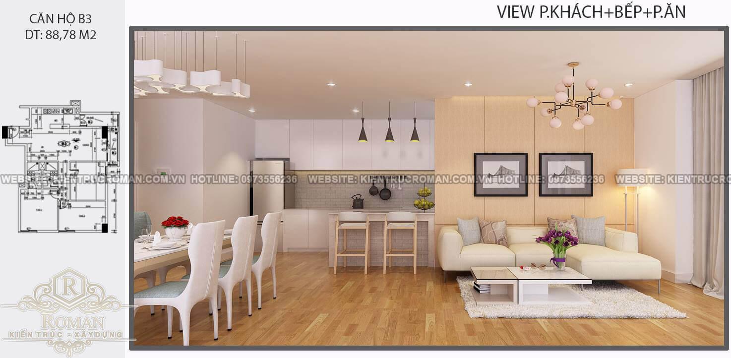 phòng khách thiết kế nội thất căn hộ 80m2
