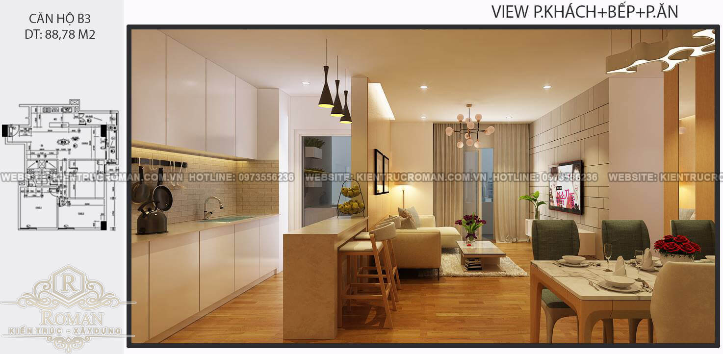 Phòng bếp, phòng ăn thiết kế nội thất căn hộ 80m2
