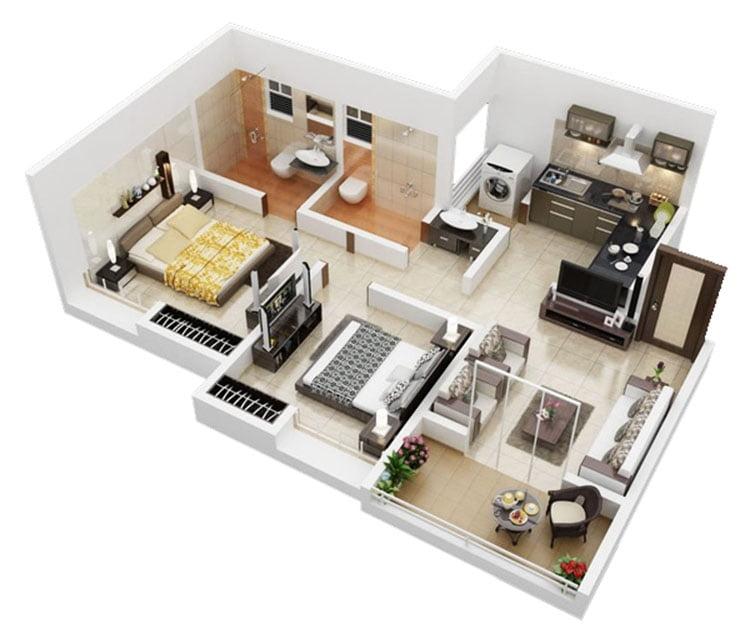 thiết kế nội thất căn hộ chung cư 70m2 12