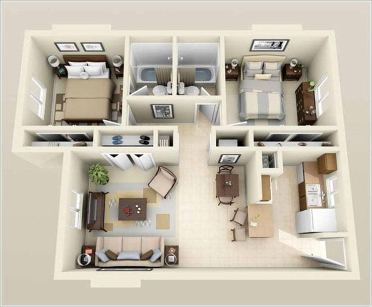 thiết kế nội thất căn hộ chung cư 70m2 13