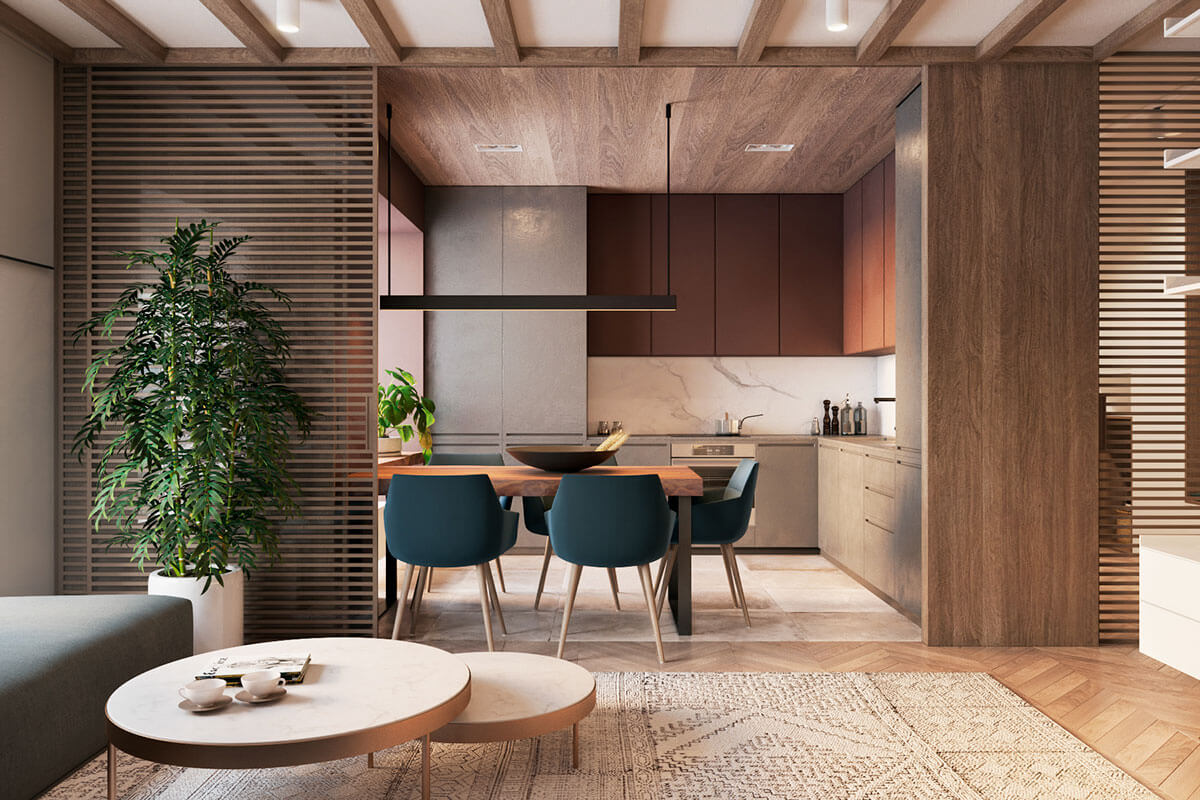 mẫu thiết kế nội thất chung cư 70m2 đẹp sang trọng 4