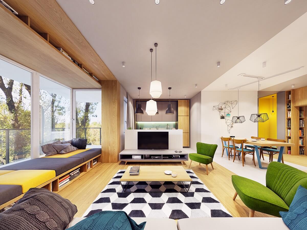 mẫu thiết kế nội thất chung cư 70m2 hiện đại sinh động 1
