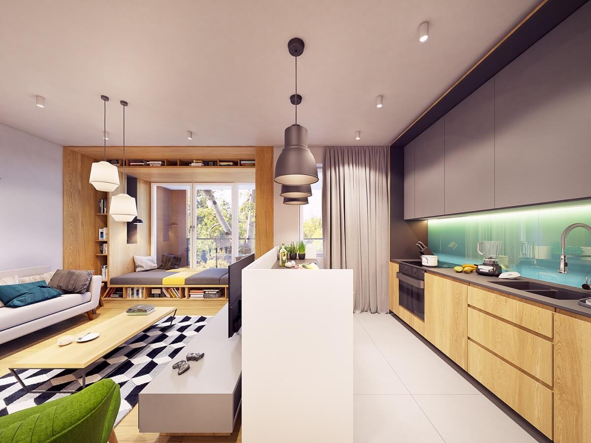 mẫu thiết kế nội thất chung cư 70m2 hiện đại sinh động 12