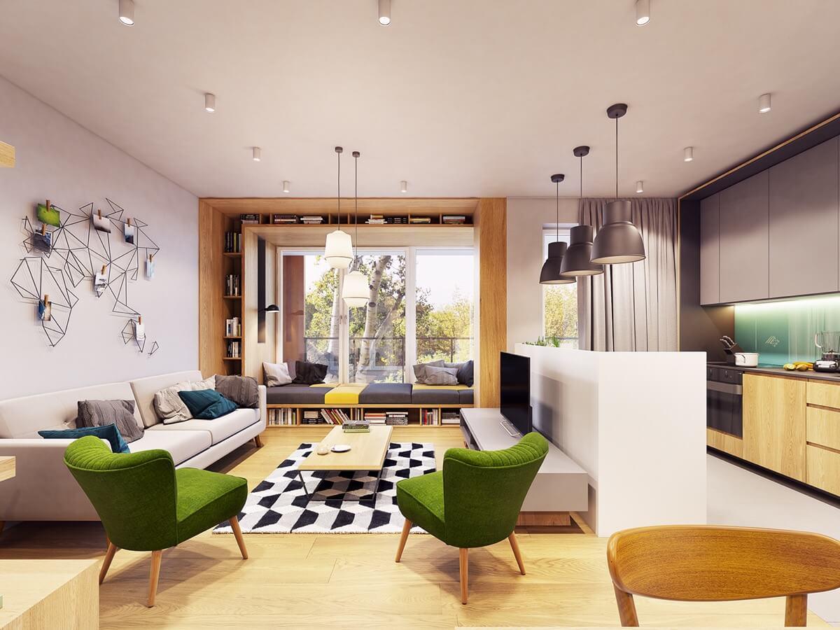 mẫu thiết kế nội thất chung cư 70m2 hiện đại sinh động 2