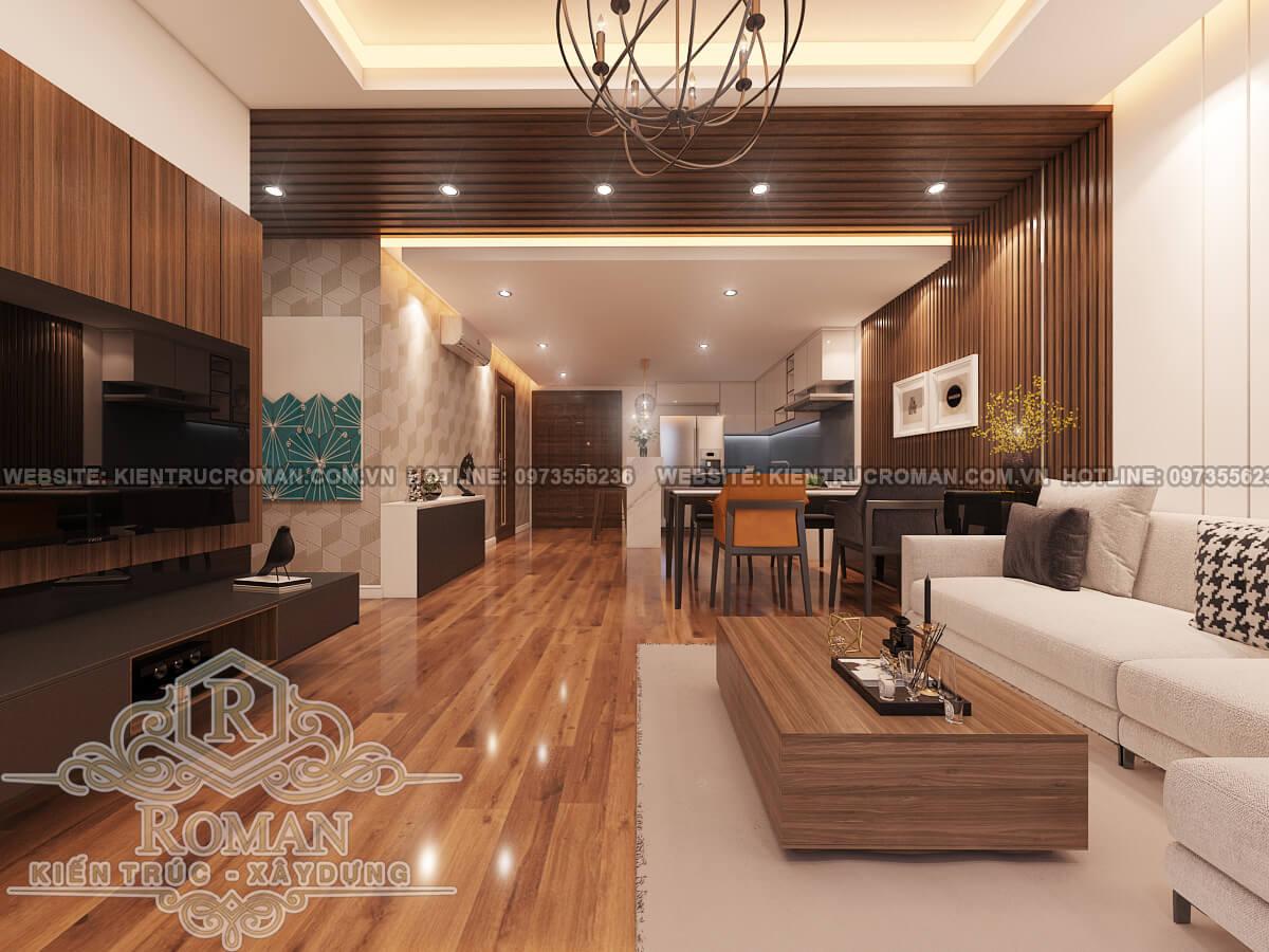 phòng khách thiết kế nội thất chung cư hiện đại