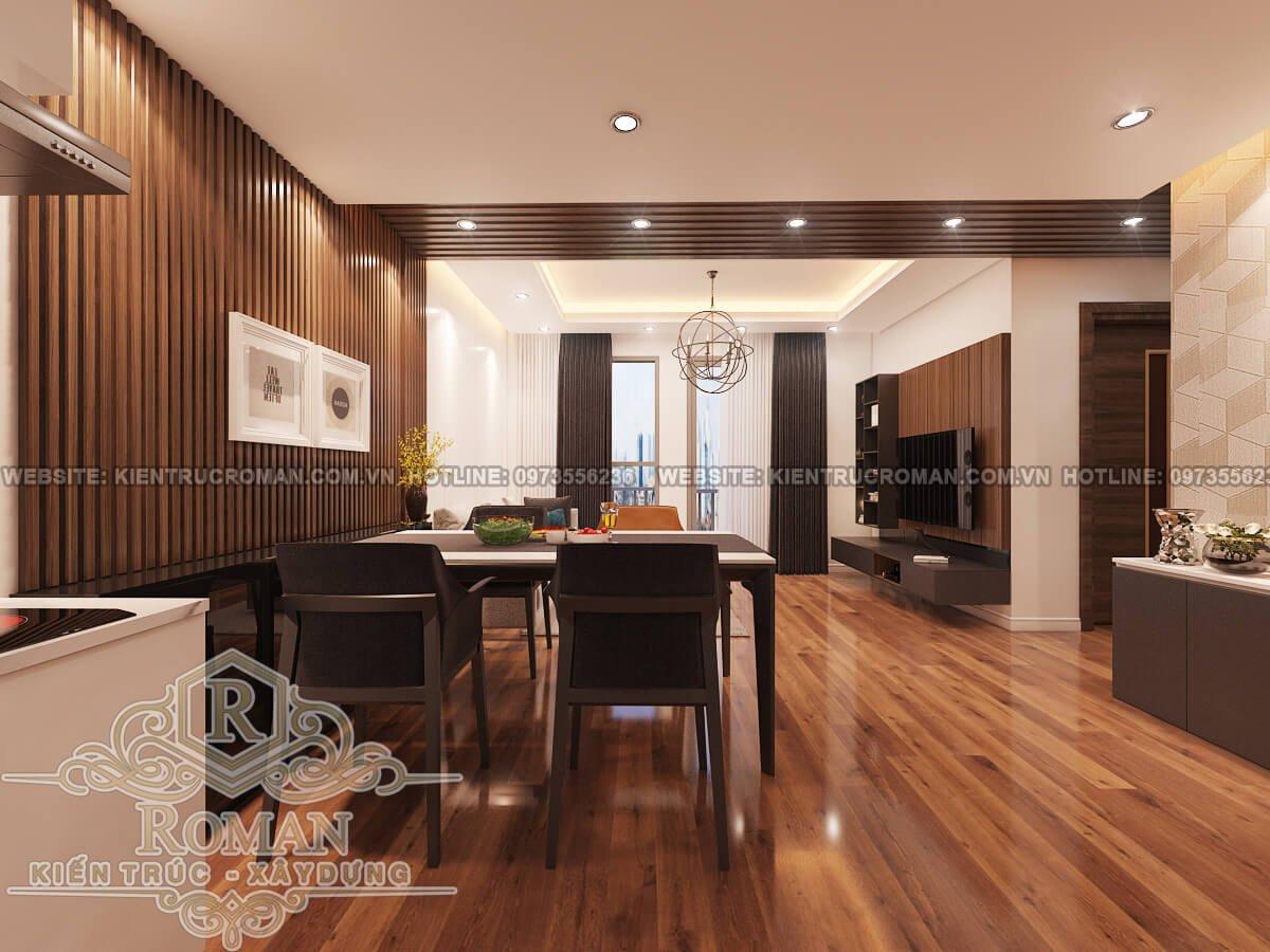 phòng ăn, phòng khách thiết kế nội thất chung cư hiện đại
