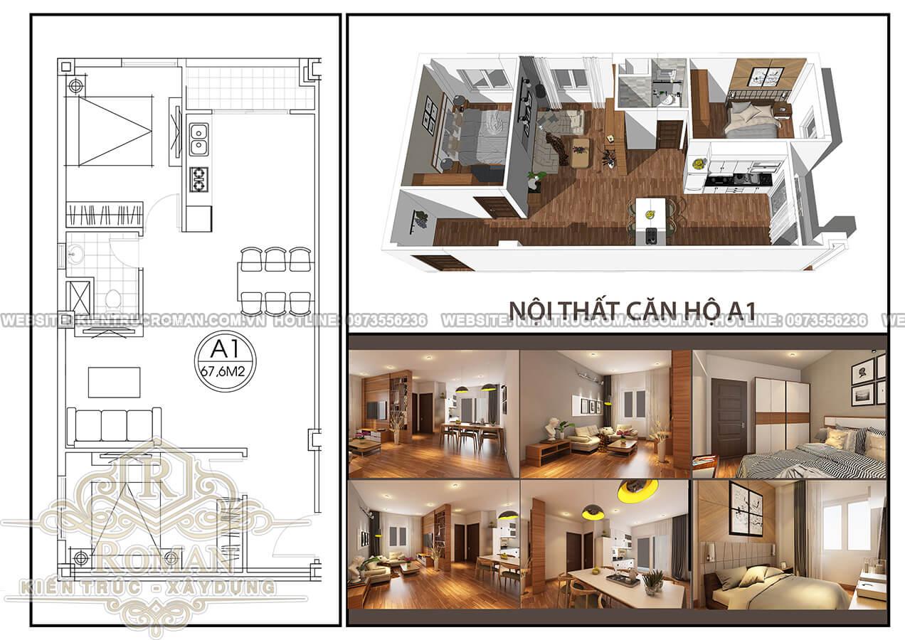mặt bằng thiết kế nội thất chung cư hiện đại