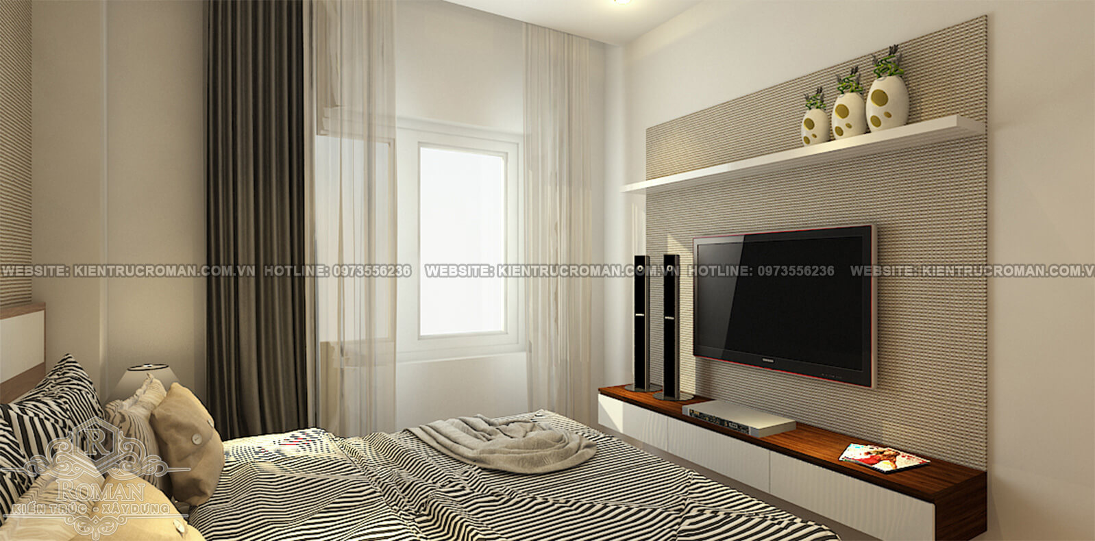 phòng ngủ thiết kế nội thất nhà chung cư hiện đại