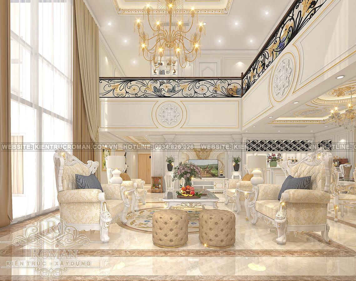 thiết kế penthouses 2 tầng đẹp phòng khách