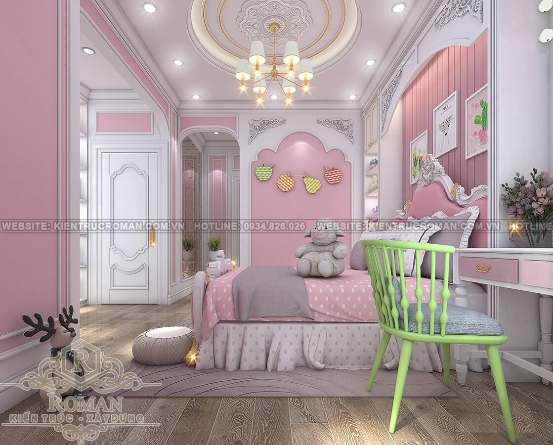 thiết kế penthouses 2 tầng đẹp phòng con gái
